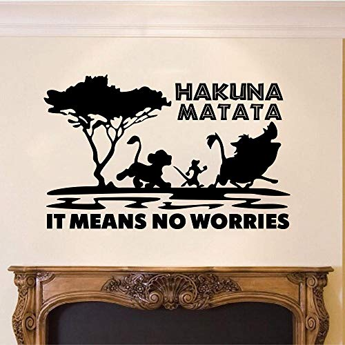 Muursticker Cartoon leeuw koning wetenschappelijke naam matata expressie citaat zonder zorgen citaat dierentuin auto wandsticker citaat vinyl chocolade 65 cm breed x 41 cm hoog cooldeerydm