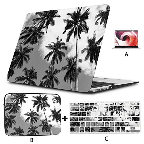 Mac Case Coconut Palm Tree Plantation Black and White 473 MacBook 2018 Case Hard Shell Mac Air 11'/13' Pro 13'/15'/16' with Notebook Sleeve Bag for MacBook 2008-2020 Version