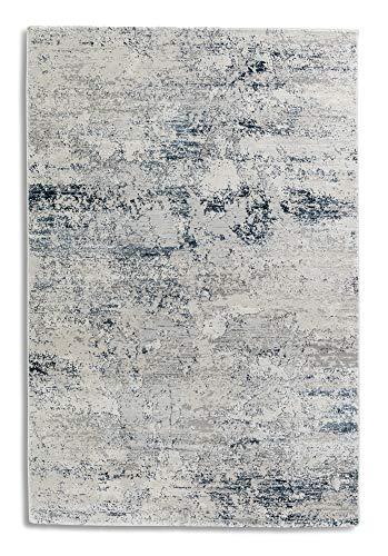 hochwertiger Designer Teppich Antea — Moderne Kurzflor Teppiche — Zimmerteppich im Vintage Design — (80x150cm, blau/Creme Vintage)