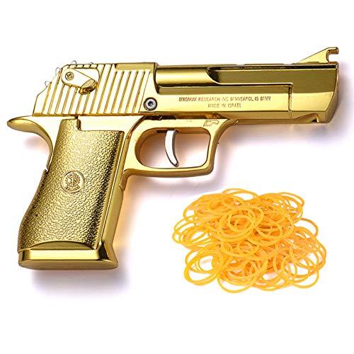 TIETHEKNOT Gummibandpistole Faltbare Last 12 Gummibänder jedes Mal Metall Exquisite Desert Eagle Pistol Form 100 Gummibänder pro Set (Gold)