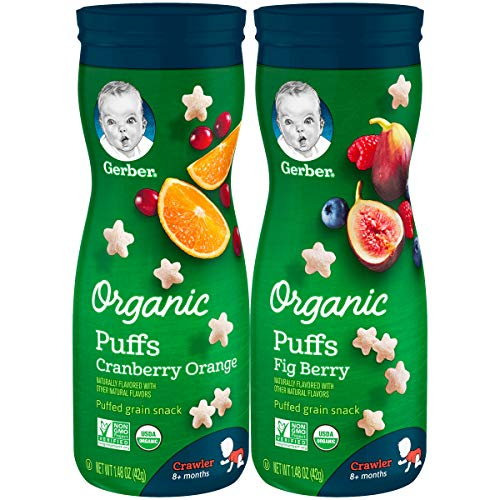 Gerber Up Age Snacks Variety Pack - Organic Puffs, 8Count