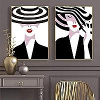 ブラックホワイトハットヴォーグガール赤い唇キャンバス絵画北欧のポスターとプリント壁アート写真リビングルームの家の装飾| 50x70cmx2Pcs /フレームなし