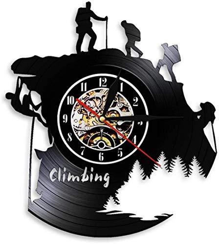 Wanduhr für Wohnzimmer Schlafzimmer Küche 1-teiliges Wandern Bergsteigen Kletter-LED-Lampe Schallplatte Wanduhr Abenteuer Extremsport Moderne Lampe für Kletterliebhaber Geschenk mit Led-No_Led