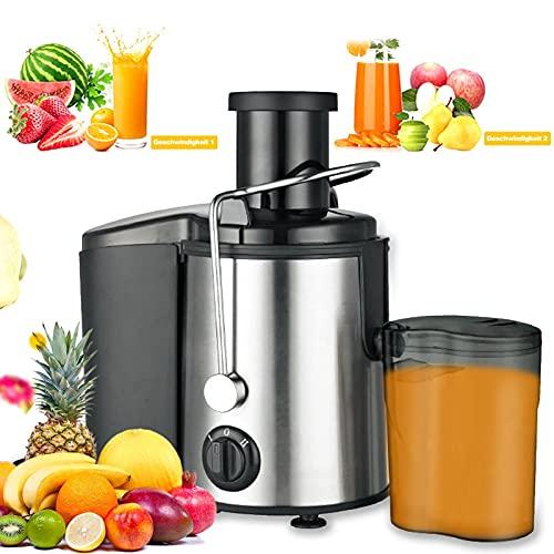 mewmewcat Licuadoras para Verduras y Frutas, 800 W Extractor de Jugos 2 Velocidades Ajustables, Licuadoras para Zumos con Jarra de Zumo y Contenedor de Pulpa