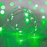 Lights4fun 20er LED Draht Micro Lichterkette grün Batteriebetrieb