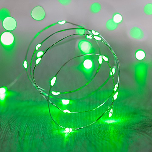 Lights4fun 20er LED Draht Micro Lichterkette grün Batteriebetrieb