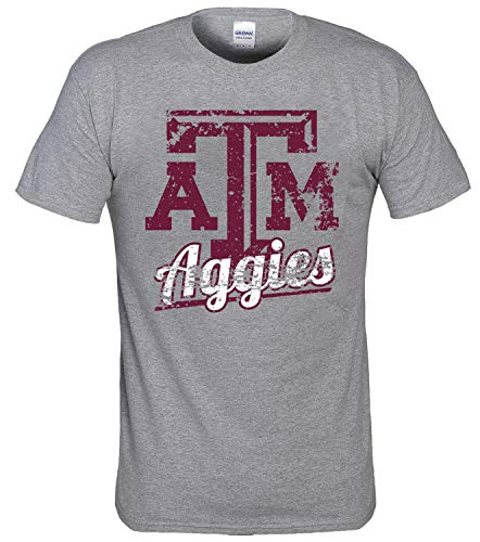 New World Graphics NCAA Distressed Logo T-Shirt - Multiple Teams (Large, Texas A&M Aggies - Dark Ash)