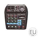 Cdrox Beruf Mischpult USB-Anschluss Mini Powered Bluetooth 4-Kanal-Stage Performance...