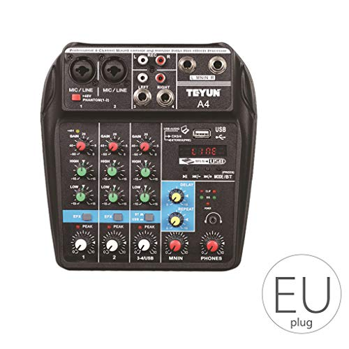 Beroep Mixing Console USB-poort Powered Mini Bluetooth 4-kanaals podiumprestaties Live Action Audio Mixer