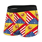 EDCVF EE. UU. Bandera de España de los Estados Unidos Hombres Regular Boxer Boxer Brief Underwear Ride-Up Bragas
