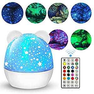 Star-Projector-Night-Light-for-Kids, Bedroom Decor with Remote Control 360-Degree Rotating Projection Galaxy Lamp 15 Colors and 6 Film for Birthday Nursery Baby Christmas