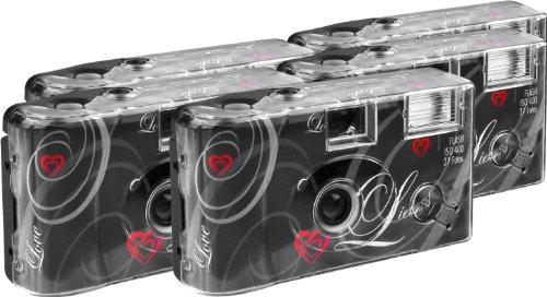 TopShot Love schwarz Einwegkamera / Hochzeitskamera (27 Fotos, Blitz, 5-er Pack)