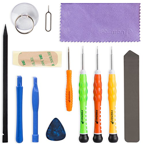 Fosmon 13 Piece Complete Opening + Repair Tools Screw Driver Kit per Apple iPhone 6S 6S Plus 6 6 Plus SE 5S 5C 5 4S 4G 3G 3GS, iPod, iPod Nano, Sony PSP