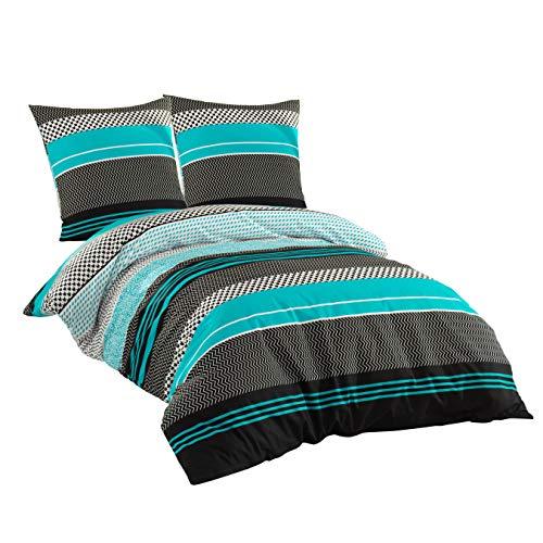 Sentidos Bettwäsche-Set 3-teilig Renforcé Baumwolle 200 x 220 cm cm mit Reißverschluss Bett-Bezug, 2 STK. 80x80 cm Kissen-Bezug Bett-Garnitur türkis schwarz weiß (200x220 cm + 2 STK. 80x80 cm)