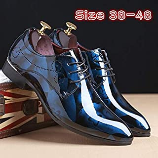 Plus Szie Hoe Sell Men Comfortable Shoes Leather Shoes Men's Flats Shoes Low Men Oxford Shoes(8,Blue)