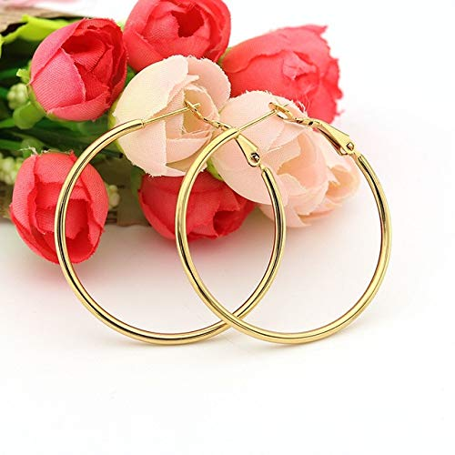 WSZAAT Earrings Surgical Steel Hoop Earrings Gold Rose Hypoallergenic Earring Sets For Women Girls Famale Jewelry Gifts 2 Pairs 40Mm 30Mm Gold
