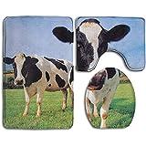 Traveler Dos Vacas Holstein De Pie En Grass Farm Alfombrillas De Baño Alfombrillas Set 3 Piezas Almohadillas Antideslizantes Alfombrilla De Baño + Contorno + Tapa De Inodoro
