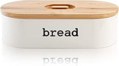 SveBake Metal Bread Box for Kitchen Counter Vintage & Retro Bread Bin with Bamboo Lid, Cream (Included a Free PDF Baking E-BOOK)