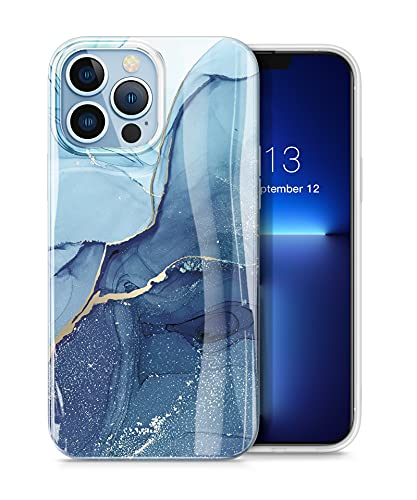 "GVIEWIN Kompatibel mit iPhone 13 Pro Hülle 6,1""2021 5G, Marmor Ultra dünn Schlank glänzend weich Silikon TPU Stoßfest Handyhülle Cover Schutzhülle (Navy Blau)"