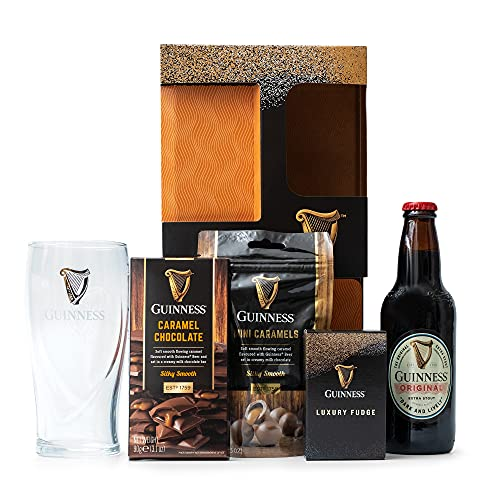 Guinness Gifts, Official Guinness Beer and Chocolate Hamper - 1x Guinness 330ml, Guinness Glass, Milk Chocolate, Caramel Fudge - Beer Gifts For Men, Fathers Day Gifts, Beer Hampers - Irish Gifts