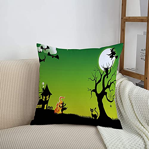 Throw Pillow Cases,Halloween ations,Witch Dancing Around The Fire at Halloween Ancient Western Ho,18x18 inch Polyester Square Throw Pillow Covers for Living Room Sofa Couch Bed Pillowcases 45cm x 45cm