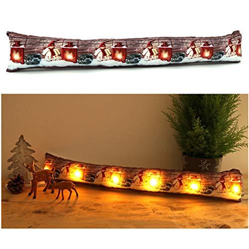 heimtexland ® Zugluftstopper mit LED Beleuchtung Fensterdekoration Laterne Wichtel Weihnachten Lichterkette Fensterdichtung Stimmungslicht Weihnachtsdeko Typ582