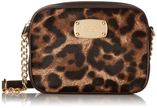 """Leopard print haircalf front and golden tone hardware Interior slip pocket Zippered top closure with Michael Kors engraved nameplate on the front Single leather and golden chain shoulder & cross-body strap with a drop of 23"""" Measures approximately 6""""..."""