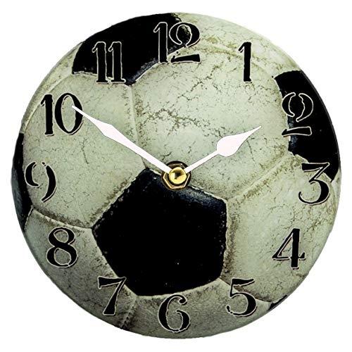Voetbal horloge glazen klok 15cm om neer te zetten
