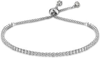 Women's Platinum Plated Silver Adjustable Cubic Zirconia Slider Tennis Bracelet with Swarovski Crystal