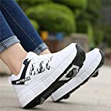 Roller Skate Shoes Girls Wheel Shoes Boys Outdoor Sneakers Trainers Inline Skates for Women Men,White-39