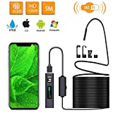 Inspection Camera Endoscope,Wireless Endoscope WiFi Inspection Camera 1200P HD Borescope Waterproof IP68 Snake Pipe Camera with 8 Led & 5M(16.4ft) Semi-Rigid Cable for iOS Android iPhone Windows Mac