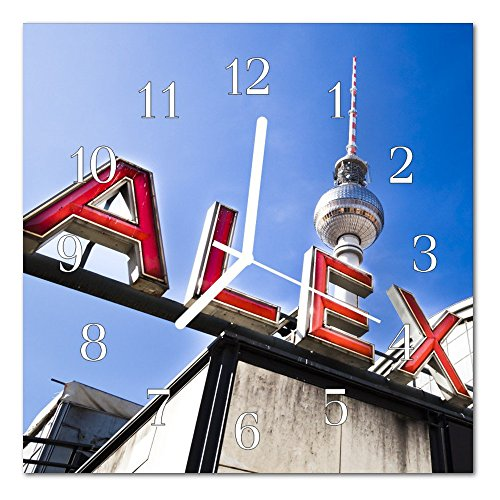 DekoGlas Glasuhr 'Alexanderplatz Mehrfarbig' Uhr aus Echtglas, eckig große Motiv Wanduhr 30x30 cm, lautlos für Wohnzimmer & Küche