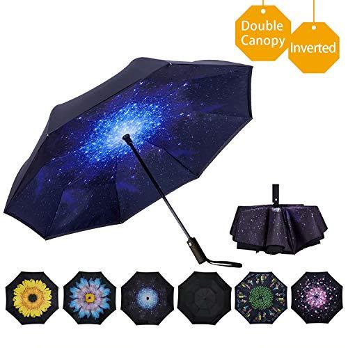 VIWINVELA Inverted Automatic Umbrella Double Layer Windproof Reverse Folding Umbrella for Car Travel Men Women Starry...