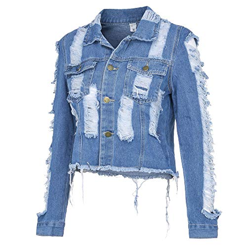 LeeMon Damen Jeansjacke Frauen Cowboy Mantel Lange Ärmel Loch Höhlenmantel Revers Tasche Taste Straße Mode Freizeit Große größe Damen Outwear
