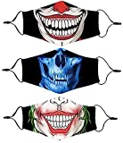 Joker Face Mask for Men, Clown Cotton Fabric Cute Cloth Designer Breathable Reusable Washable Adjustable Fashion Lightweight for Men Women Adult Clown Joker Punisher Mouth Halloween Smiley Guy(red)