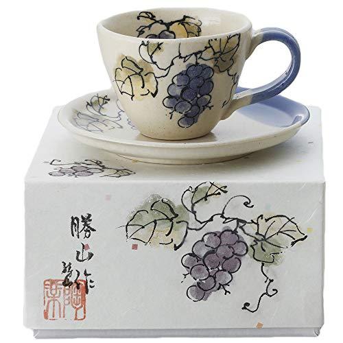 カップ ソーサ— コーヒー碗皿 陶器 ぶどう/彩箱珈琲(手描葡萄) /箱入り 贈り物 母の日 誕生日 ギフト
