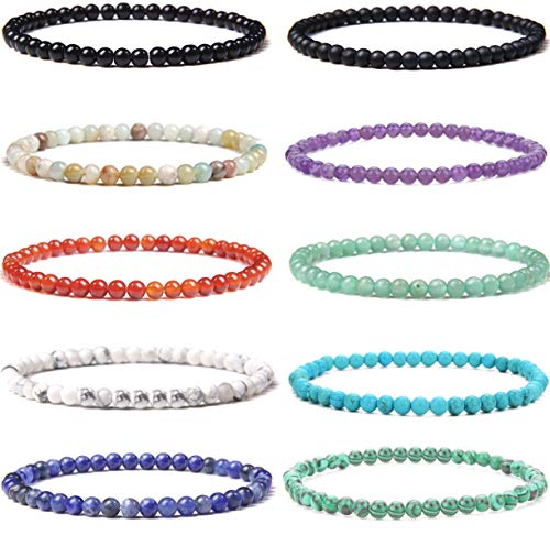 WAINIS 10 Pcs 4MM Mini Semi Precious Gemstone Energy Bracelets for Women Tiny Bracelet Stone Statement Bracelet Charm Beaded Couples Bracelets