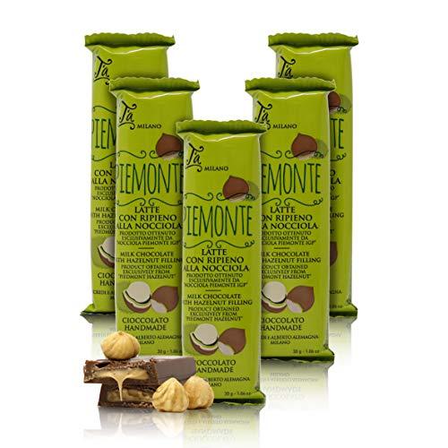 Mini Tableta de Chocolate con Leche rellena de avellanas del Piamonte - 30 gr (Paquete de 5 Piezas)