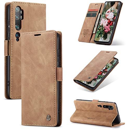 FMPC Handyhülle für Xiaomi Mi Note 10 Premium Lederhülle PU Flip Magnet Hülle Wallet Klapphülle Silikon Bumper Schutzhülle für Xiaomi Mi Note 10 Pro Handytasche - Braun