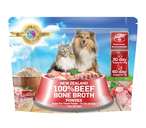 Pet's Friend Bone Broth Powder for Dogs and Cats 8 oz (227 gm) - Collagen Peptides and Protein, Grass Fed and Free-Range Human-Grade Supplement, Veterinarian Recommended