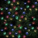SPV Lights, 100 luci a energia solare a forma di fiore multicolore a...