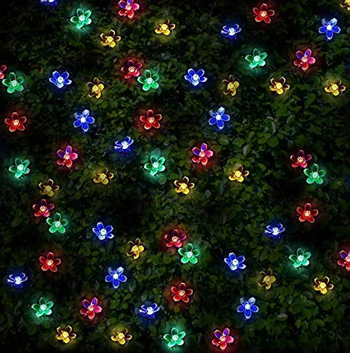 100 Multi-colour LED Flower Blossom Solar Powered Fairy Lights - Waterproof Solar Decoration String Lights with Built-in Night Sensor - for Christmas, Outdoor, Garden, Fence, Patio, Yard, Walkway, Driveway, Shed, Garage, Path, Ornament, Stairs and Outside by SPV Lights: The Solar Lights & Lighting Specialists (Free 2 Year Warranty Included)
