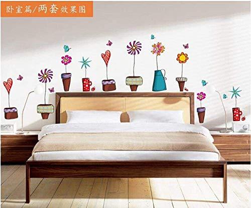 Bloempot vlinder natuur mooie ramen muursticker PVC decoratie voor thuis decoratie woonkamer DIY