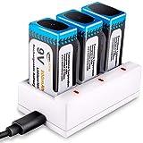 【新型】Keenstone 9v 電池 充電式 3個セット9v充電池 800mAh 006p エネループ カメラ/時計/ラジオ/おもちゃ/ギター/屋内煙探知機対応 3ポート充電器とUSBケーブル付き