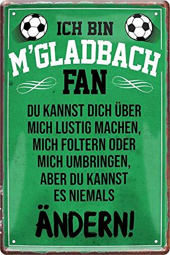 Blechschilder ICH BIN M'GLADBACH Fan Metallschild Schild für Fußball Begeisterte Deko Artikel Schild Geschenk zum Geburtstag oder Weihnachten 20x30 cm