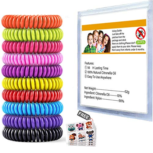 Mosquito Repellent Bracelet 20 Pack with 4 Patches, Waterproof Bug Repellent Wrist Bands, Fit for Kids & Adults, Natural Ingredients and Deet-Free,pest Control, Safe Indoor Outdoor Protection