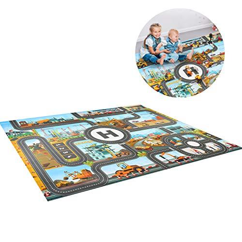 Alfombra de juegos JTMM para niños, diseño urbano, plástico PVC, tamaño 39.3 X51.1 pulgadas/100 x 130 cm, alfombra de juegos para niños, alfombra y regalo educativo para dormitorios y sala de juegos
