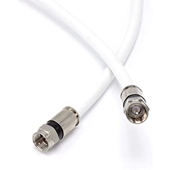25' Feet, White RG6 Coaxial Cable (Coax Cable) - Made in The USA - with Connectors, F81 / RF, Digital Coax - AV, CableTV, Antenna, and Satellite, CL2 Rated, 25 Foot