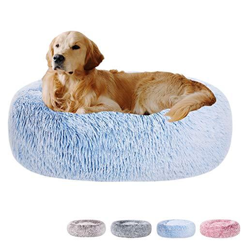 Poohoo Beruhigendes Hundebett aus Kunstfell, Donut, waschbar, rund, Katzenbett, Kissen, Farbverlauf, Farbe (58,4 cm/76,2 cm) für kleine, mittelgroße Hunde (L 76,2 cm, blau)