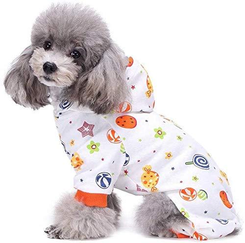 S-Lifeeling - Disfraz de perro con estampado de caramelos para cachorros, pijama suave para perro, camisa, el mejor regalo, 100% algodón, para perros medianos y pequeños